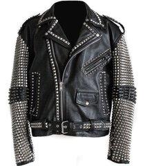 handmade men studded leather biker motorcycle rocker jacket rock punk design