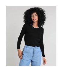 suéter de tricô feminino básico bicolor decote redondo preto