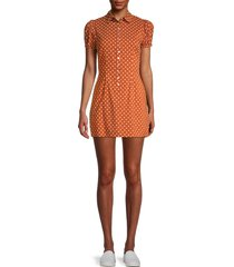 onia women's elle polka dot puff-sleeve dress - orange - size l