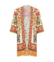 kimono flor de arara - laranja
