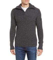 helly hansen marka half zip wool sweater, size small in ebony at nordstrom