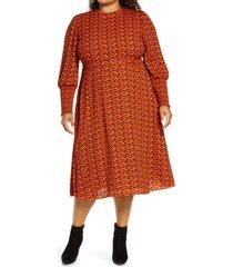 plus size women's halogen tie back long sleeve dress, size 3x - brown