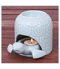 celadon ceramic oil warmer, 'turtle cave' (thailand)