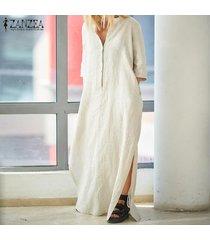 zanzea mujeres 3/4 tamaño ocasional de cuello en v plus kaftan vestido de tirantes vestido maxi -beige