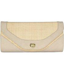 bolsa carteira de mão clutch em palha de buriti artestore com fivela nude