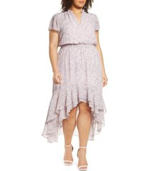 plus size women's 1.state wildflower bouquet ruffle high/low dress