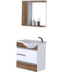 kit gabinete + espelheira para banheiro 59,5cm mdp florence nogal sevilha com cuba - rorato - rorato