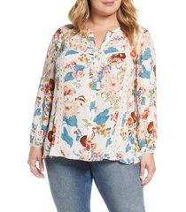 plus size women's daniel rainn floral print lace inset blouse, size 1x - pink