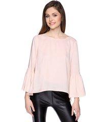 bluzka z rozkloszowanymi rękawami różowa