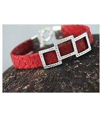 leather wristband bracelet, 'complex red' (peru)