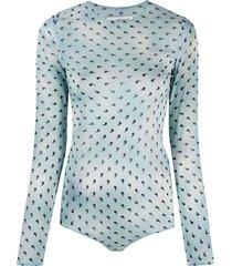 maison margiela comma print silk bodysuit - blue