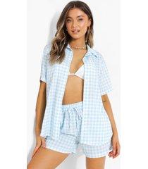 gingham overhemd met korte mouwen en shorts set, powder blue