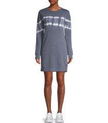 marc new york performance women's tie-dye sweatshirt dress - antique denim - size l