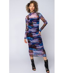 akira aurora maxi mesh dress