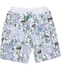 kenzo kids elephant & tiger print shorts