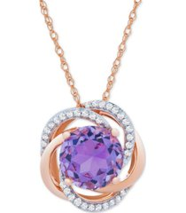amethyst (1-7/8 ct. t.w.) & diamond (1/10 ct. t.w.) pendant in 14k rose gold