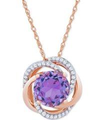 amethyst (1-7/8 ct. t.w.) & diamond (1/10 ct. t.w.) pendant in 14k rose gold