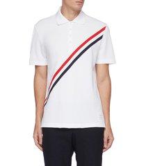 diagonal tricolour stripe cotton pique polo shirt