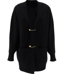 versace oversized cardigan with safety pin