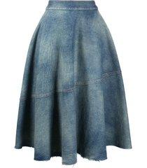 mm6 maison margiela washed denim midi skirt - blue