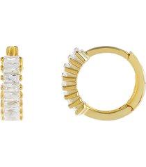 adina's jewels baguette huggie hoop earrings in gold at nordstrom