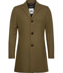 wolger compact melton coat wollen jas lange jas groen j. lindeberg
