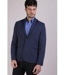 blazer masculino em piquet com botões manga longa azul marinho