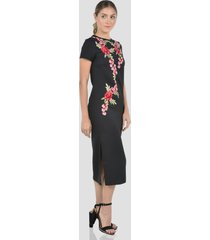 vestido con detalle bordado de mujer exotik ew173-1117-776 negro
