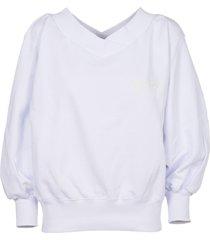dondup white v-neck sweatshirt