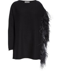 feather sleeve cashmere sweater black