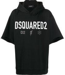 dsquared2 logo short-sleeve hoodie - black