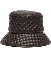 'quilty' leather bucket hat
