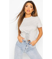 lace up front t-shirt, grey marl