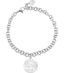 bracciale albero della vita in acciaio rodiato e cristalli per donna