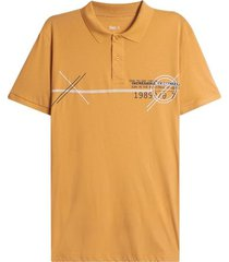 polo hombre global color amarillo, talla l
