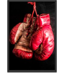 quadro oppen house 60x40cm boxe esporte treino saco de pancada  moldura preta s/vidro - preto - dafiti