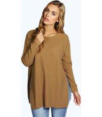 plus side split moss stitch tunic sweater, camel