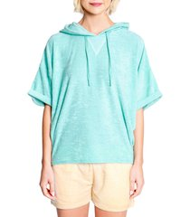 women's pj salvage short sleeve terry hoodie, size medium - blue/green