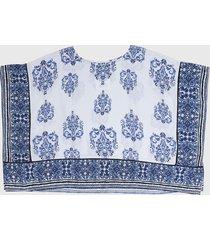 blusa blanco-azul desigual