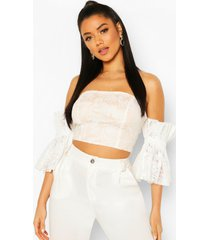 embroidered mesh off the shoulder top, white