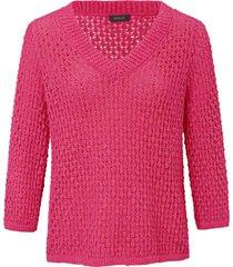 trui van 100% katoen met v-hals en 3/4-mouwen van basler roze