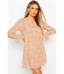 leopard print ruffle waist oversized smock dress, brown