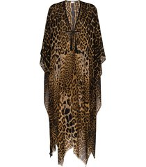 saint laurent leopard print poncho - brown
