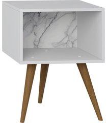 mesa de cabeceira lyam decor retrã´ branco carrara - branco - dafiti