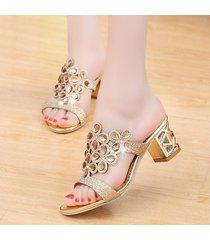 mujeres sandalias de tacón alto bloques sexy tacones rhinestone sandalias