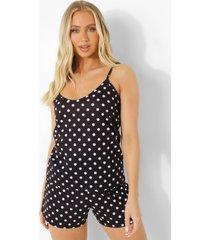 pyjama set met hemdje en shorts met stippen, black