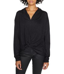 women's sanctuary knot interested knit top, size xx-large - black