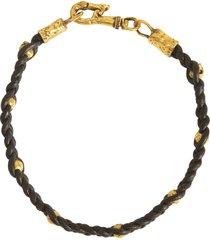 brass bead and braided bracelet
