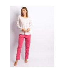 pijama feminino poliester liberty branco com rosa