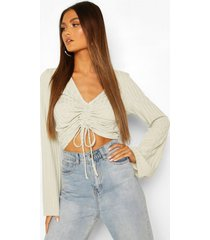 ruched front flared sleeve top, mint